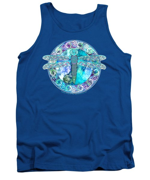 Tank Top featuring the mixed media Cool Celtic Dragonfly by Kristen Fox