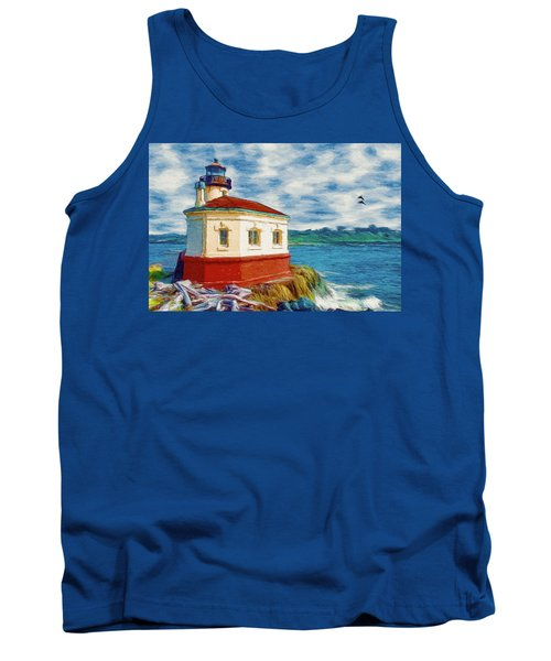 Tank Top featuring the painting Coquille River Lighthouse by Jeff Kolker