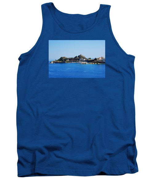 Corfu Fortress On Blue Water Tank Top