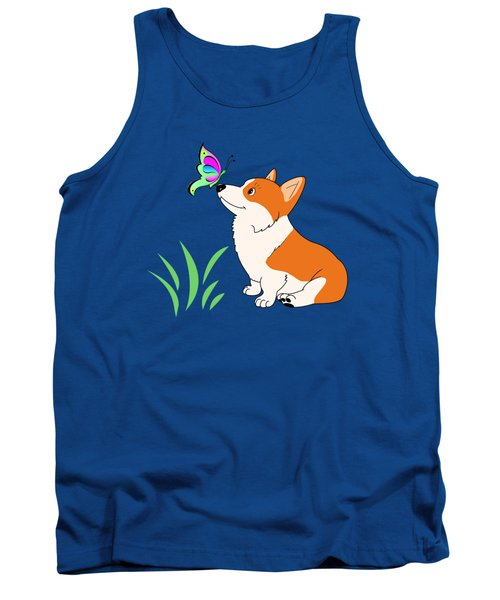 Corgi With Butterfly T-shirt Tank Top