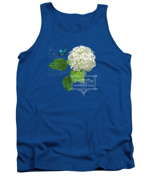 Cottage Garden White Hydrangea With Blue Butterfly Tank Top