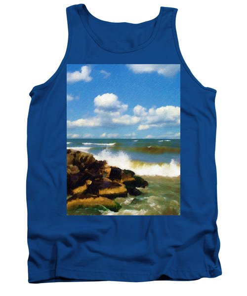 Crashing Into Shore Tank Top by Sandy MacGowan