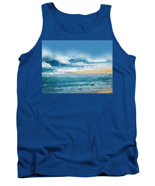 Tank Top featuring the digital art Crashing Waves by Anthony Fishburne