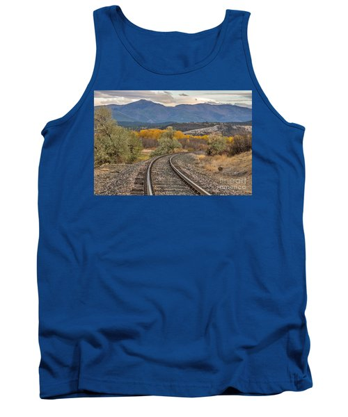 Tank Top featuring the photograph Curve In The Tracks In Autumn by Sue Smith