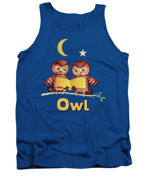 Cute Baby Owls Starry Night And Moon Tank Top