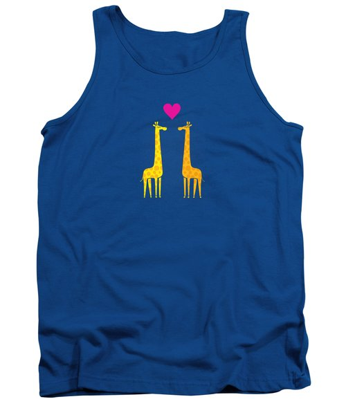 Cute Cartoon Giraffe Couple In Love Purple Edition Tank Top by Philipp Rietz