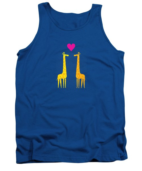 Cute Cartoon Giraffe Couple In Love Purple Edition Tank Top