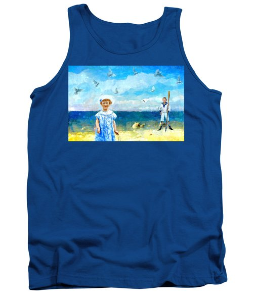 Tank Top featuring the digital art Day At The Shore by Alexis Rotella