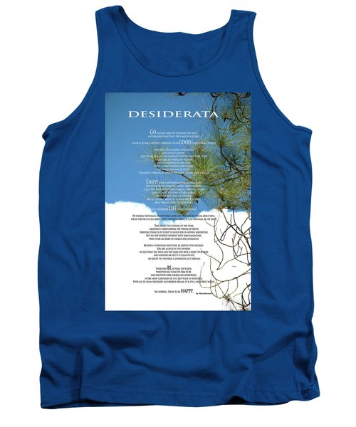 Desiderata Poem Over Sky With Clouds And Tree Branches Tank Top by Claudia Ellis