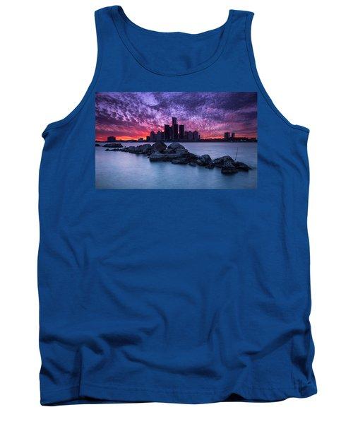 Detroit Skyline Clouds Tank Top