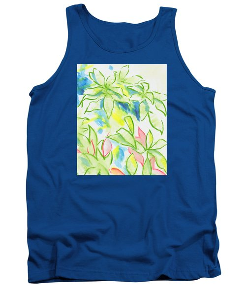 Different Coloured Hydrangea Leaves - Green Red Yellow Tank Top