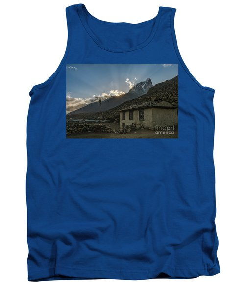 Tank Top featuring the photograph Dingboche Nepal Sunrays by Mike Reid