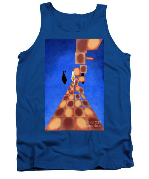 Disrupted Egg Path On Blue Tank Top