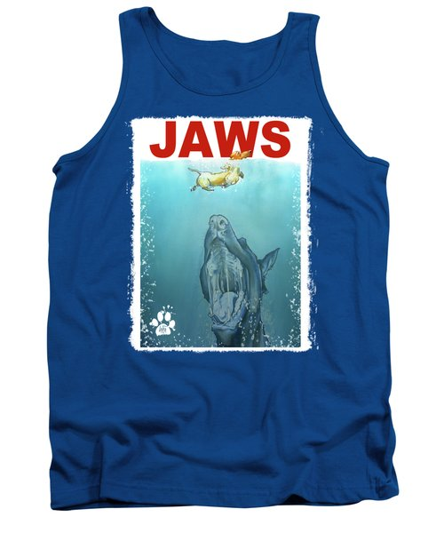 Dog-themed Jaws Caricature Art Print Tank Top