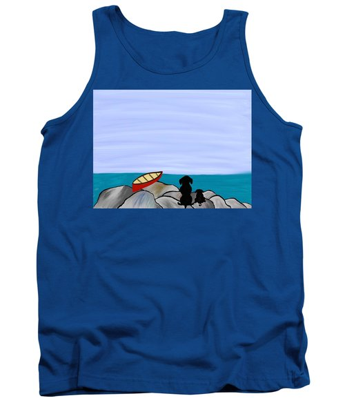 Tank Top featuring the digital art Dogs At Beach by Paula Brown