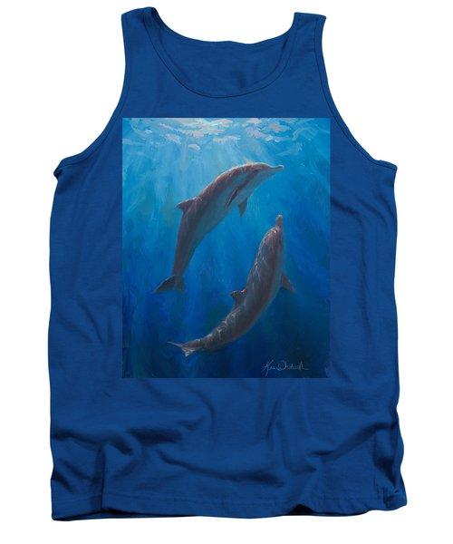 Dolphin Dance - Underwater Whales - Ocean Art - Coastal Decor Tank Top