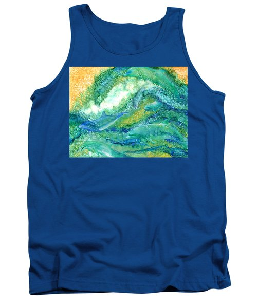 Tank Top featuring the mixed media Dolphin Waves 2 by Carol Cavalaris