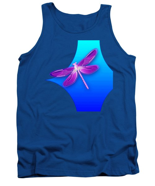 Dragonfly Pink On Blue Tank Top