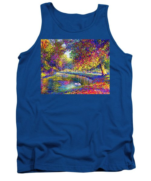 Tank Top featuring the painting Drifting Beauties, Swans, Colorful Modern Impressionism by Jane Small