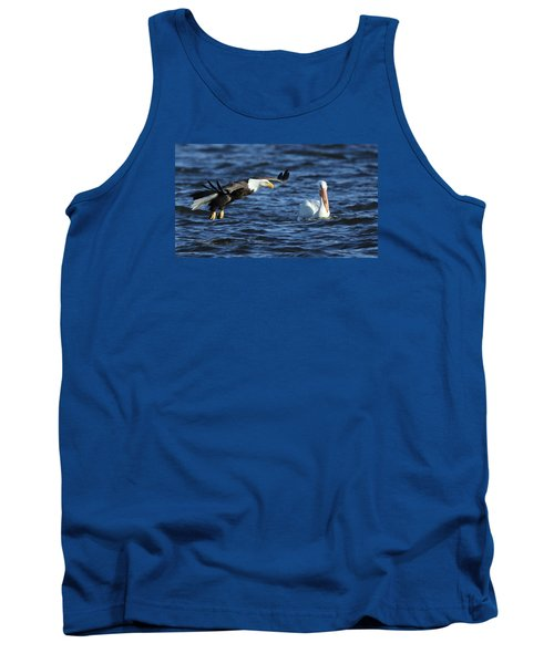 Tank Top featuring the photograph Eagle And Pelican by Coby Cooper