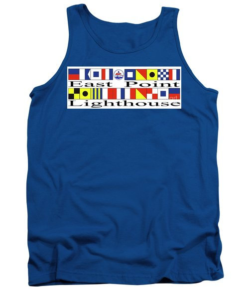 East Point Lighthouse Nautical Flags Tank Top by Nancy Patterson