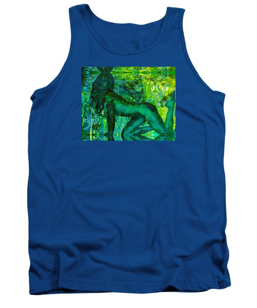 Emerald Green Sacred Sex Graffiti Tank Top by Deprise Brescia