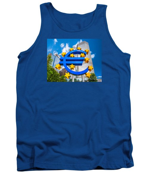Euro Sign At European Central Bank In Frankfurt, Germany Tank Top by JR Photography