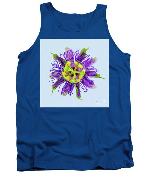 Expressive Yellow Green And Violet Passion Flower 50674b Tank Top