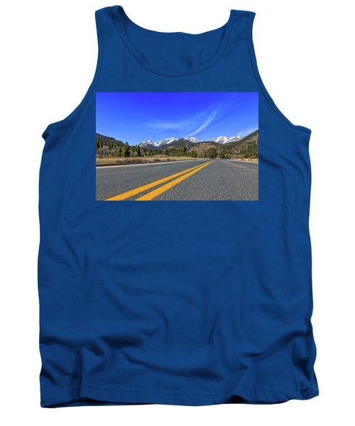 Tank Top featuring the photograph Fall River Road With Mountain Background by Peter Ciro