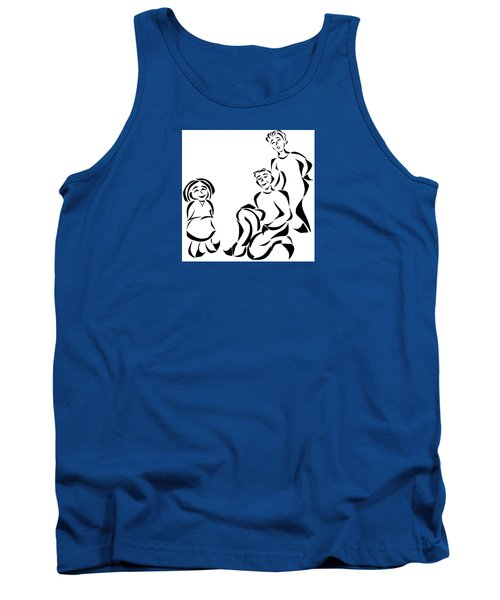 Tank Top featuring the mixed media Family Time by Delin Colon