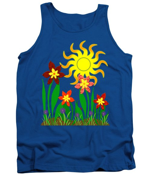 Tank Top featuring the digital art Fanciful Flowers by Shawna Rowe
