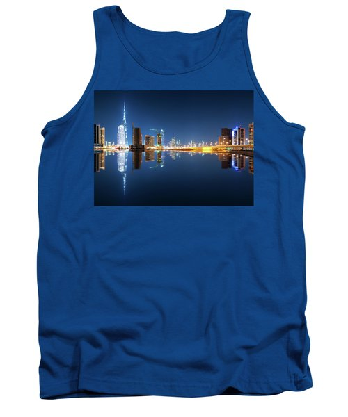 Fascinating Reflection Of Tallest Skyscrapers In Business Bay District During Calm Night. Dubai, United Arab Emirates. Tank Top