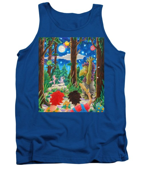 Tank Top featuring the drawing Fighting Orcs And Giant Spiders by Matt Konar