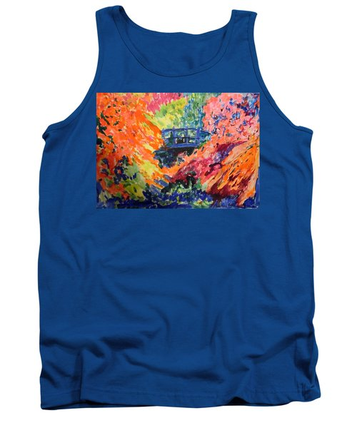 Floral View Of The Bridge Tank Top by Esther Newman-Cohen