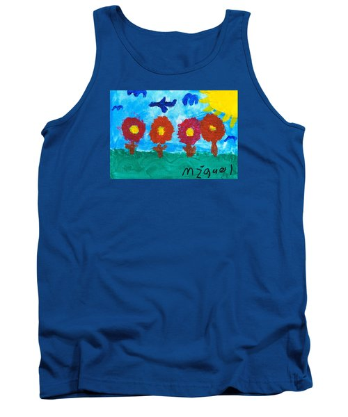 Tank Top featuring the painting Flowers And Airplane by Artists With Autism Inc
