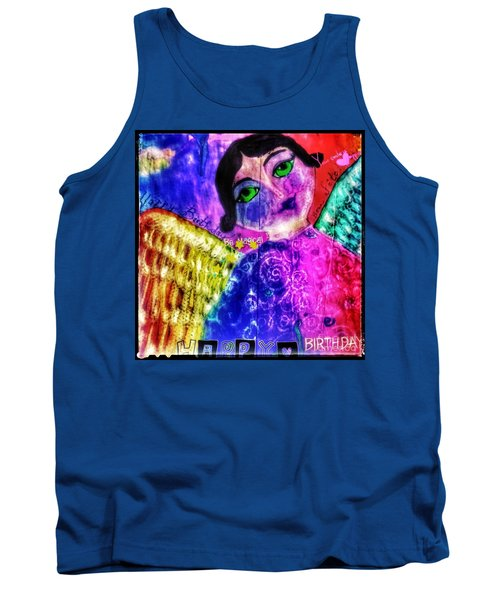 Folk Art Happy Birthday Angel Tank Top