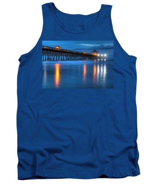 Folly Beach Pier At Blue Hour Charleston South Carolina Tank Top
