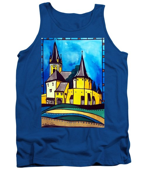 Tank Top featuring the painting Fortified Medieval Church In Transylvania By Dora Hathazi Mendes by Dora Hathazi Mendes