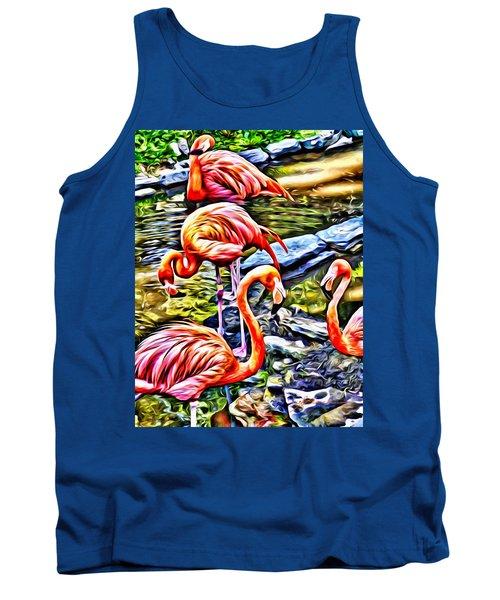 Four Pink Flamingos Tank Top