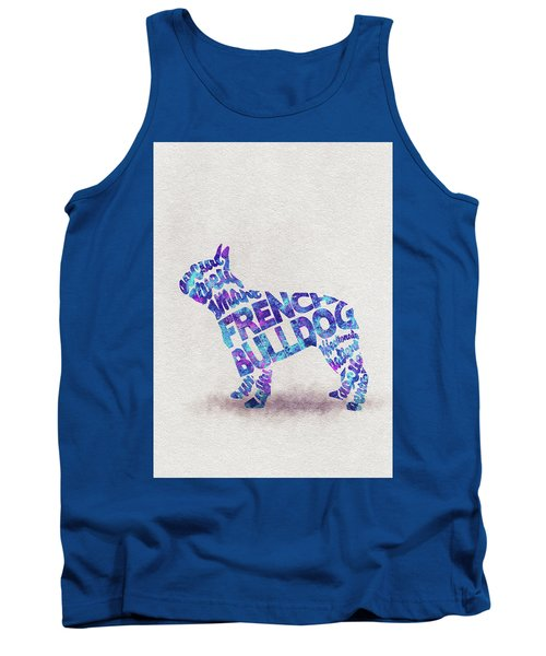 Tank Top featuring the painting French Bulldog Watercolor Painting / Typographic Art by Ayse and Deniz