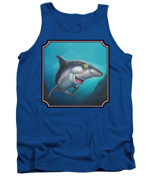 Friendly Shark Cartoony Cartoon - Under Sea - Square Format Tank Top