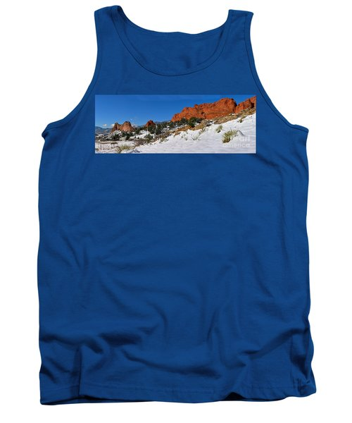 Tank Top featuring the photograph Garden Of The Gods Snowy Blue Sky Panorama by Adam Jewell
