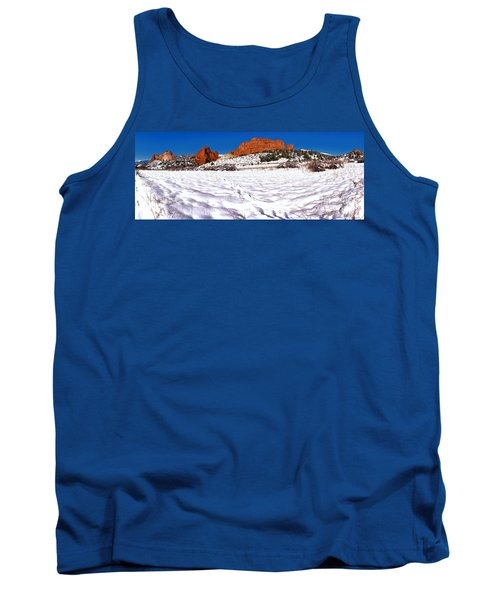 Tank Top featuring the photograph Garden Of The Gods Snowy Morning Panorama Crop by Adam Jewell