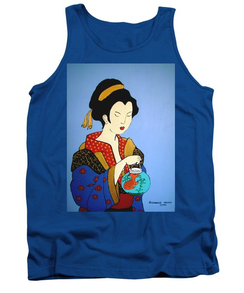 Tank Top featuring the painting Geisha With Fish by Stephanie Moore