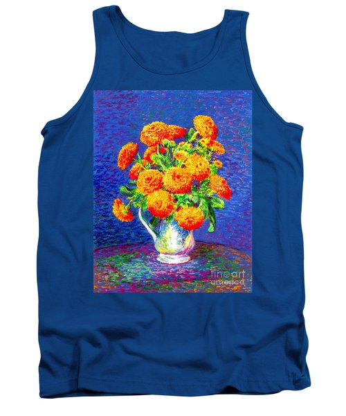 Tank Top featuring the painting Gift Of Gold, Orange Flowers by Jane Small
