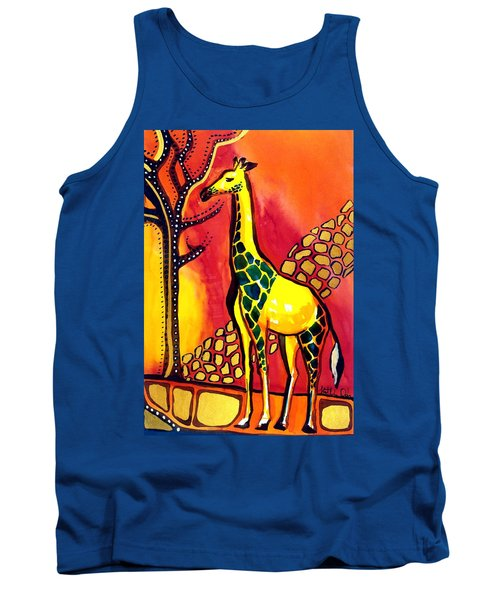 Tank Top featuring the painting Giraffe With Fire  by Dora Hathazi Mendes