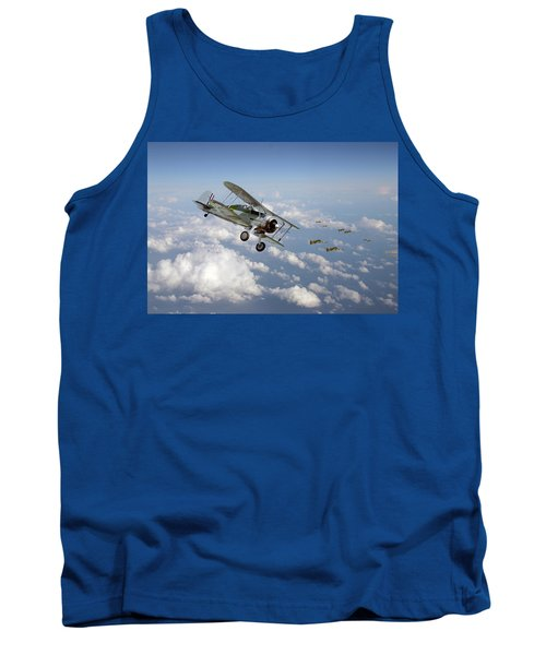 Tank Top featuring the digital art  Gloster Gladiator - Malta Defiant by Pat Speirs
