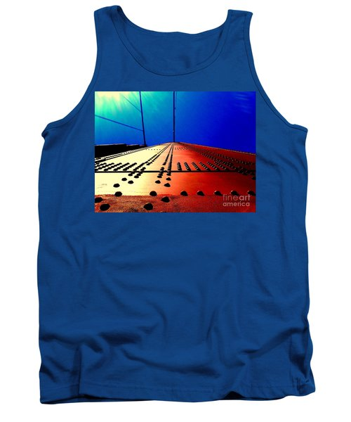 Golden Gate Bridge In California Rivets And Cables Tank Top by Michael Hoard