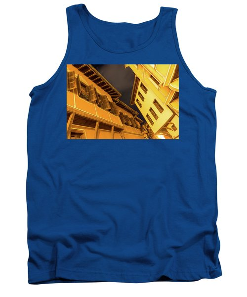 Golden Yellow Night - Chic Zigzags Of Oriel Windows And Serrated Roof Lines Tank Top