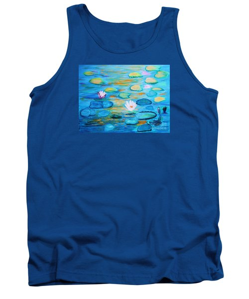 Tank Top featuring the painting Graceful Pond From The Water Series by Donna Dixon